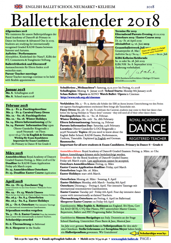 Ballett Weihnachten 2019.Ballett English Ballet School Neumarkt Kelheim Natalie Pollard